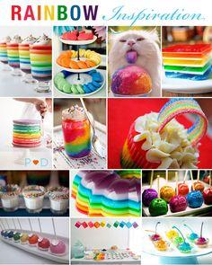 rainbow, coloured food, party idea, wedding food, cake, cupcakes, cake pops, jello, macarons, macaroons, toffee apple, milk shots