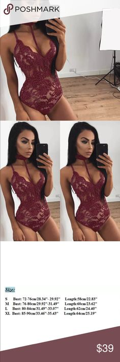 New Arrival! Lace/one piece bodysuit lingerie! Sexy wine one piece bodysuit lingerie!! Size:Medium candlesfashionhouse Intimates & Sleepwear Chemises & Slips