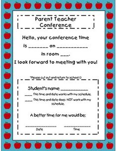 Free Picture Perfect Parent Teacher Conference Printables