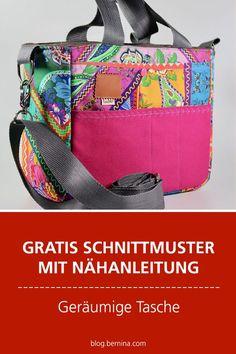 Gratis-Schnittmuster & Nähanleitung: Geräumige Tasche für Zubehör & Co. Bag Patterns To Sew, Sewing Patterns Free, Free Sewing, Sewing Tutorials, Free Pattern, Sewing Projects, Trash To Couture, Costura Diy, Fabric Scraps
