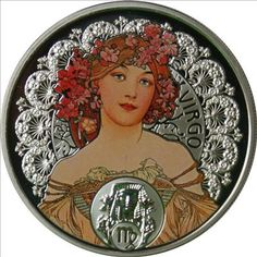 Virgo silver coin, with the art of Alfons Mucha