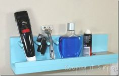 s 11 space saving hacks for your tiny bathroom, bathroom ideas, Build a small shelf for your razor