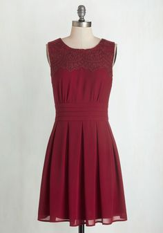 V.I.Pleased Dress in Wine - Red, Solid, Pleats, Cocktail, A-line, Sleeveless, Lace, Valentine's, Variation, Colorsplash, Mid-length,…