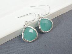 Aqua Earrings White Gold Mint Green Wedding by LadyKJewelry, $23.50