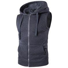 Hooded Vest 2018 New Spring Men's Hooded Zipper With Pocket Male Sweat Vest Jacket Solid Color Hooded Vest Men's Clothing Ärmelloser Pullover, Hooded Vest, Sports Hoodies, Sleeveless Hoodie, Mens Fleece, Jacket Style, Vest Men, Vest Jacket, Suit Vest
