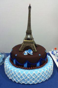 Bolo Paris Azul: #bolosdecorados  #aniversario #festa #festaadulto #confeitaria #bolodeparis #paris Bolo Paris, 30, Birthday Cake, Desserts, Food, Whipped Cream, Decorating Cakes, Good Ideas, Blue