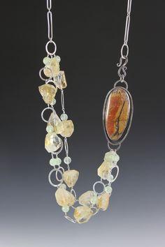 Red Creek Jasper and Citrine necklace...Deb Fanelli