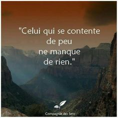 He who is content with little, does not lack anything! Positive Attitude, Positive Vibes, Positive Quotes, Quote Citation, French Quotes, Some Words, Beautiful Words, Quotations, Life Quotes