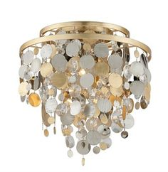 Corbett Lighting Ambrosia Gold , Silver Leaf & Stainless Steel Three-Light 18'' Wide Flush Mount Light with Clear Crystal
