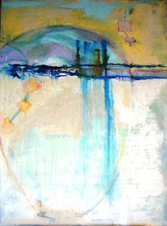 Abstract Painting Large original art turquoise yellow cream