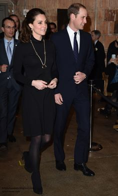 "duchesskate:  Cambridges Visit to USA, December 9, 2014-The Duke and Duches of Cambridge attended the GREAT Reception to boost Great Britain; the Duchess wore the black Seraphine ""Vanessa"" dress, with black tights, black suede shoes, her Cartier ""Trinity"" necklace and Kiki McDonough green amethyst earrings."