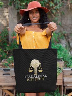 Plastic Shopping Bags, Notary Public, God's Plan, Paralegal, New Journey, Women Empowerment, Black Cotton, Slogan, Tote Bag