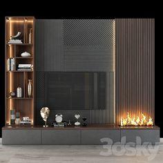 3d models: TV Wall - TV shelf 093 Living Room Wall Units, Living Room Tv Unit Designs, Interior Design Living Room, Modern Tv Room, Living Room Modern, Home Living Room, Fireplace Tv Wall, Wall Tv, Tv Wall Panel