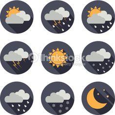 ベクトルアート : weather vector icons. flat design