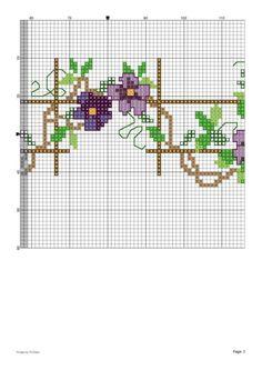 Purple flowers 2 of 2 Cross Stitch Boarders, Mini Cross Stitch, Cross Stitch Flowers, Cross Stitch Designs, Cross Stitching, Cross Stitch Embroidery, Hand Embroidery, Cross Stitch Patterns, Baby Dress Patterns