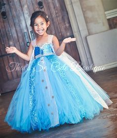 Queen Elsa Tutu Dress Costume-frozen, blue, turquoise, tutu dress, costume, halloween, snowflake, Elsa, Ana, queen, snow- By That's So Cute Boutique