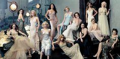 """APRIL 2004: """"SEND IN THE GOWNS""""    Julianne Moore, Jennifer Connelly, Gwyneth Paltrow, Naomi Watts, Salma Hayek, Jennifer Aniston, Kirsten Dunst, Diane Lane, Lucy Liu, Hilary Swank, Alison Lohman, Scarlett Johansson, and Maggie Gyllenhaal."""
