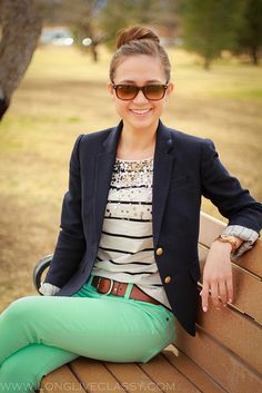 navy stripes, blazer and mint jeans, love the colors.