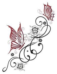 tatouage fleur: Féminin, en filigrane tribale avec des fleurs et des papillons
