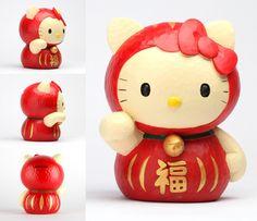 Sanrio Hello Kitty Japanese Coin Bank Daruma Doll