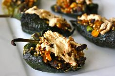 Vegan Stuffed Poblano Peppers  I'd leave out the cheese altogether and you don't really need oil to saute onions.