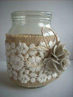 Burlap Mason Jars, Mason Jar Diy, Mason Jar Crafts, Wedding Jars, Wedding Burlap, Burlap Lace, Rustic Wedding, Hessian, Trendy Wedding