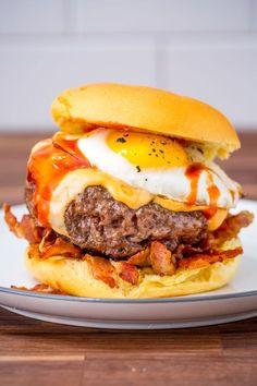 Cheesy Breakfast Burger - http://Delish.com