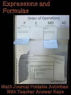 Expressions and Formulas foldable math activities with teacher answer keys.  Perfect for interactive math notebooks.    *Order of Operations  *Expressions vs Equations *Examples of Expressions *What is a Formula? *The Real Number System *Words that Represent Operations *Real Number Properties *Properties of Equality *Absolute Value Expressions and Equations *What is an Inequality? *Properties of Inequalities *Words that Represent Inequalities *Compound Inequalities *Absolute Value…