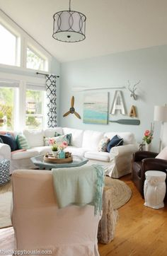 You'll love this light bright and cheery spring home tour at the happy housie-7  Whispering Spring- Benjamin Moore