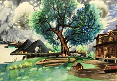 From Cosner Art Gallery, Marc-Aurèle Fortin, Untitled (ca. Watercolor on paper, 26 × 34 in Montreal Museums, National Art, His Travel, Canadian Artists, Museum Of Fine Arts, Art Studies, Watercolor Landscape, Les Oeuvres, Art Gallery