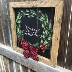 Merry Christmas Writing, Christmas Canvas, Christmas Paintings, Christmas Love, Diy Christmas Ornaments, Christmas Design, Holiday Crafts, Christmas Holidays, Christmas Wreaths