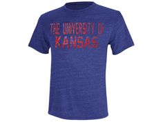 University of Kansas Adidas Stamped Out Triblend Tee - Royal Heather