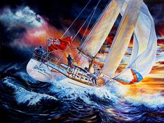 Shop online for canvas art prints of STORM MEISTER sailboat action painting of a sailing yacht in stormy ocean sunset by artist Hanne Lore Koehler. Sailboat Art, Sailboat Painting, Great Paintings, Seascape Paintings, Ship Paintings, Thing 1, Stormy Sea, Acrylic Wall Art, Ocean Sunset