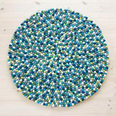 Filzkugelteppich  Blau/Grün Una LIVING Felt ball rug von UnaLiving