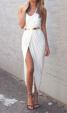 #summer #fashion / white slit dress