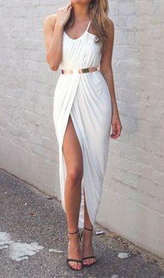 #summer #fashion / white slit dress
