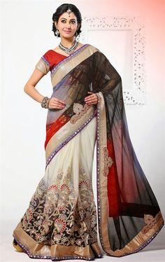 Alluring Multi Color Designer Embroidered Saree