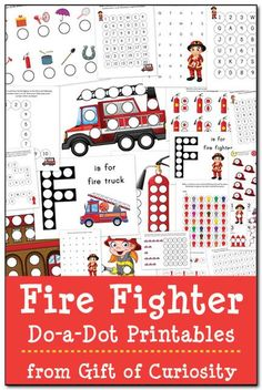 Free Fire Fighter Do-a-Dot Printables: 21 pages of fire fighter do-a-dot worksheets to help kids ages 2-6 work on one-to-one correspondence, shapes, colors, patterning, letters, and numbers. #firefighters #freeprintables #DoADot || Gift of Curiosity