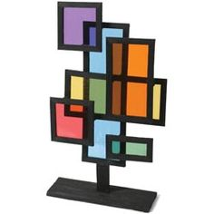Balsa & Cellophane Stained Glass Sculpture - Project - United Art and Education Sculpture Lessons, Sculpture Projects, Sculpture Art, Mondrian, 6th Grade Art, School Art Projects, Middle School Art, Teaching Art, Student Teaching