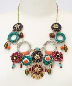Look what I found on #zulily! Gold & Orange Bead Bib Necklace #zulilyfinds