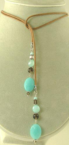 Lariat Necklace: Blue Chalcedony and Smoky Quartz