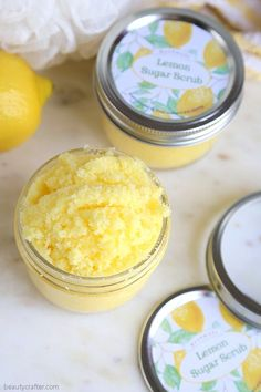 Lemon Sugar Scrub with Free Printable Labels - Fabulous DIY Gift! - Beauty Crafter Lemon Sugar Scrub with Free Printable Labels - Fabulous DIY Gift! Body Scrub Recipe, Diy Body Scrub, Sugar Scrub Recipe, Diy Scrub, Neutrogena, Printable Labels, Free Printable, Savon Soap, Soaps