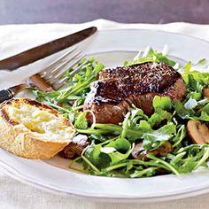 How to Cook Filet Mignon with Arugula Salad Video | MyRecipes.com