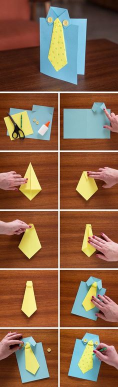 Eine Krawatten-Karte zum Vatertag basteln. Auch für Kinder ein einfaches DIY-Projekt zur Freude aller Papas!