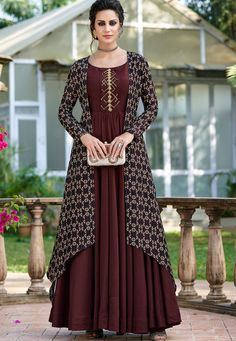 Redefined brown embroidered gown suit online which is crafted from tussar silk fabric with exclusive digital pints. Designer Gowns, Indian Designer Wear, Gown With Jacket, Jacket Style, Silk Jacket, Stylish Dresses, Fashion Dresses, One Piece Gown, Gown Suit