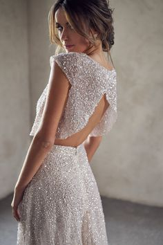 'Lumière' – The Ethereal New Bridal Collection by Anna Campbell two piece sequinned wedding dress with crop top Anna Campbell Bridal, Anna Campbell Dress, Bridal Collection, Dress Collection, Bridal Gowns, Wedding Gowns, Short Bridal Dresses, Sequin Wedding, Two Piece Wedding Dress