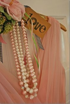 Vintage pink and white pearls and lace. Pearl And Lace, Pearl White, Matilda, Color Melon, Wedding Decor, Garden Wedding, Wedding Colors, Shades Of Peach, Fru Fru