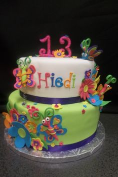 This was for a young lady battling brain cancer. The party decorations were a fun, bright flower and butterfly pattern. Cake is chocolate and vanilla, covered in fondant. Decorations are done in gumpaste