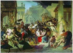 'The Sack of Rome' by Karl Briullov (1799-1852). The Vandals were a Germanic tribe who were first mentioned in Roman history by Pliny the Elder (77 CE). They sacked Rome in 455 CE, causing the name 'vandal' to be synonymous with destruction and barbarians. - Joshua J. Mark on  Ancient History Encyclopedia