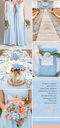 something blue wedding with peach, blue and peach wedding, summer wedding, spring wedding color palette 2018 Wedding Colors, Peach Wedding Colors, Wedding Color Schemes, Wedding Blue, Trendy Wedding, Wedding Flowers, Wedding Summer, Wedding Church, Wedding Ideas Blue